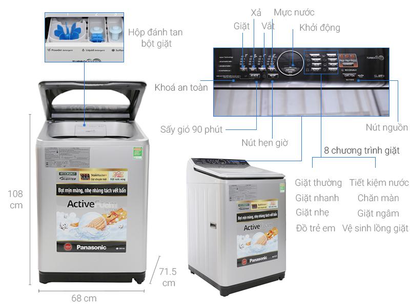 Thông số kỹ thuật Máy giặt Panasonic 13.5 kg NA-F135V5SRV