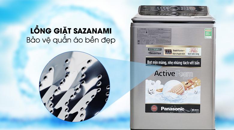Lồng giặt Sazanami giảm hư tổn - Máy giặt Panasonic 13.5 kg NA-F135V5SRV