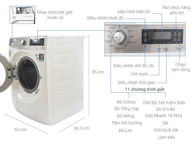 Thông số kỹ thuật Máy giặt Electrolux Inverter 9 kg EWF12933
