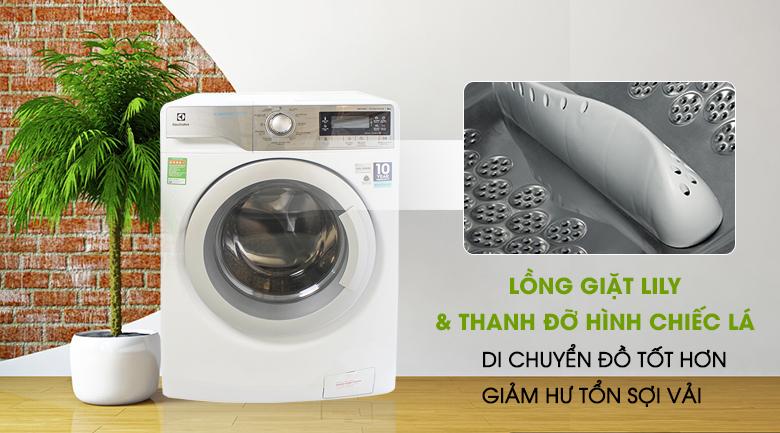 Lồng giặt Lily & thanh nâng hình chiếc lá - Máy giặt Electrolux Inverter 9 kg EWF12933