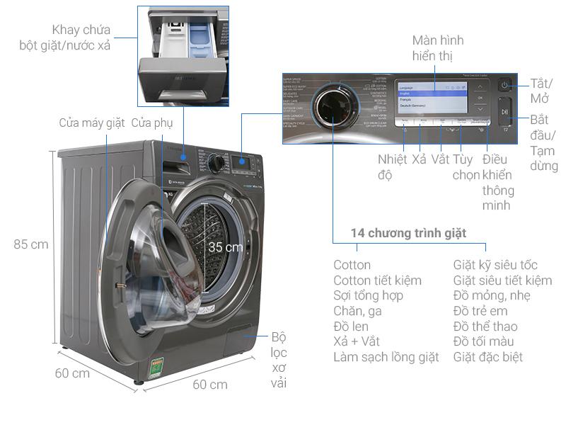 Thông số kỹ thuật Máy giặt Samsung AddWash Inverter 12 Kg WW12K8412OX/SV