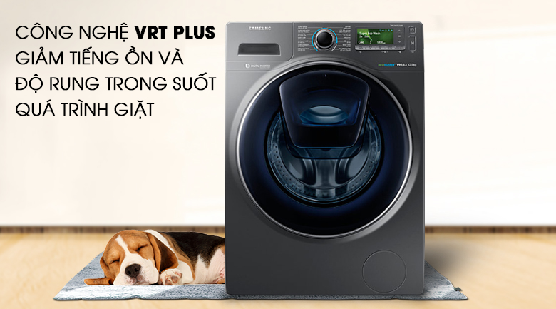 Công nghệ giặt siêu êm VRT Plus - Máy giặt Samsung AddWash Inverter 12 Kg WW12K8412OX/SV