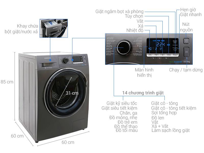 Thông số kỹ thuật Máy giặt Samsung Inverter 10.5 kg WW10K6410QX/SV