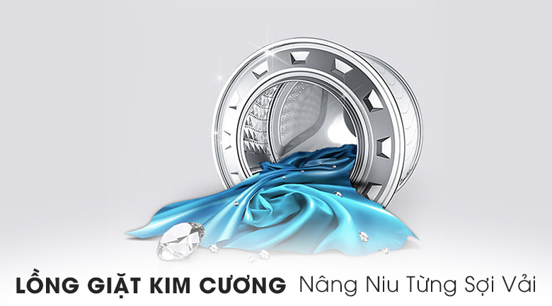 Lồng giặt kim cương - Máy giặt Samsung Inverter 10.5 kg WW10K6410QX/SV