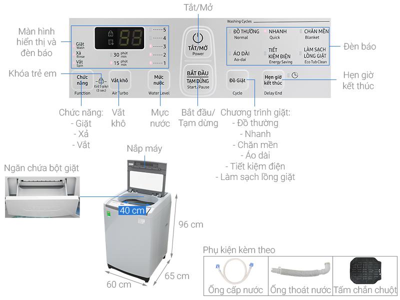 Thông số kỹ thuật Máy giặt Samsung 8.5 kg WA85M5120SG/SV