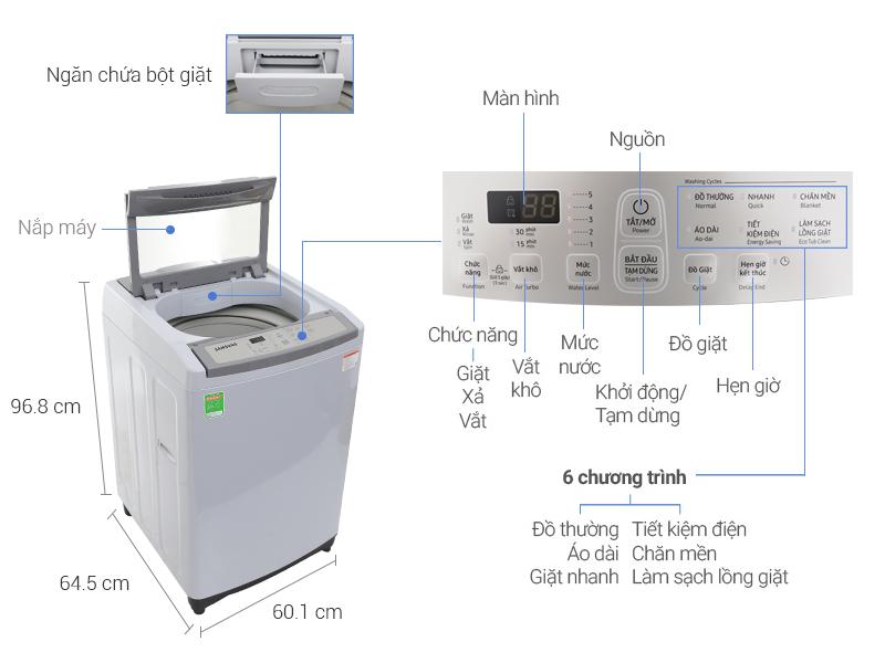 Thông số kỹ thuật Máy giặt Samsung WA90M5120SG/SV