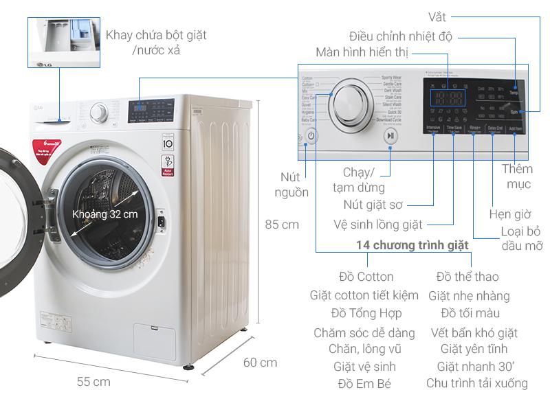 Thông số kỹ thuật Máy giặt LG Inverter 7.5 kg FC1475N5W
