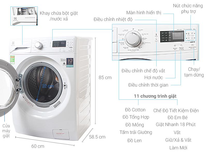 Thông số kỹ thuật Máy giặt Electrolux Inverter 8 kg EWF12853