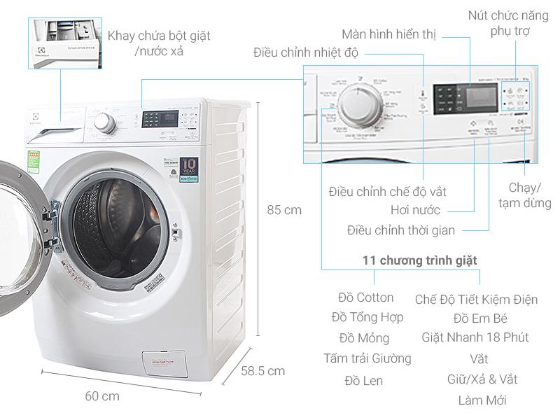 Thông số kỹ thuật Máy giặt Electrolux 8 kg EWF12853
