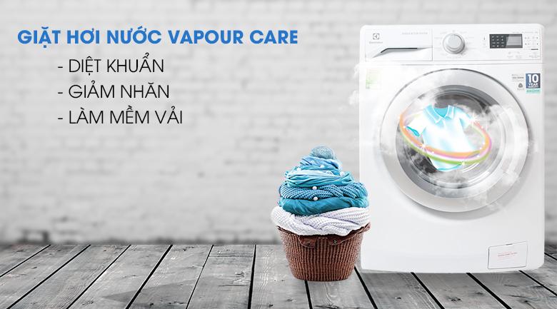 Giặt hơi nước Vapour Care - Máy giặt Electrolux Inverter 8 kg EWF12853