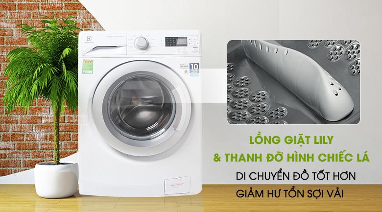 Thanh đỡ hình chiếc lá & lồng giặt Lily - Máy giặt Electrolux Inverter 8 kg EWF12853