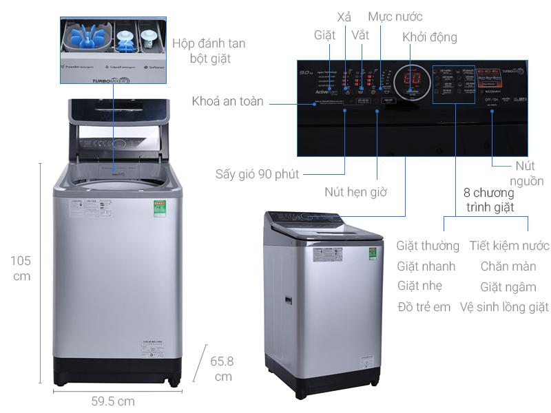 Thông số kỹ thuật Máy giặt Panasonic 9kg NA-F90V5LMX