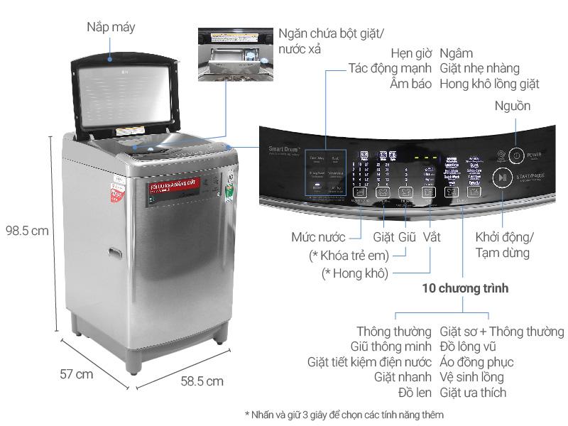 Thông số kỹ thuật Máy giặt LG Inverter 12 kg T2312DSAV