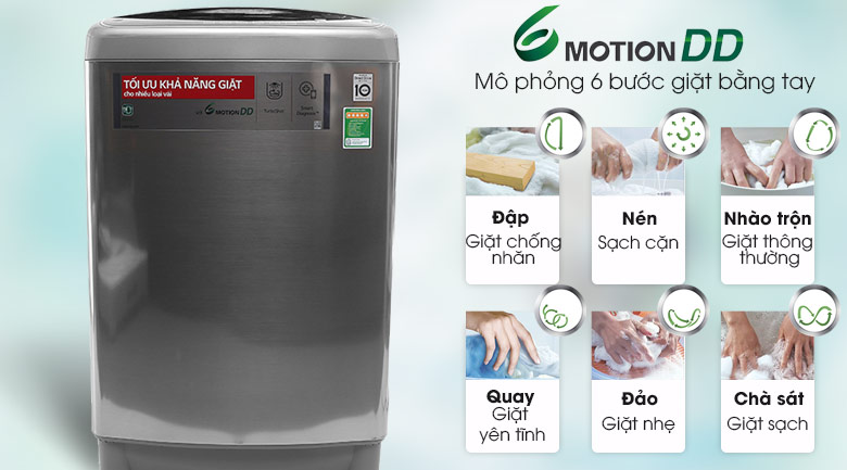 Công nghệ giặt 6 motion DD - Máy giặt LG Inverter 12 kg T2312DSAV