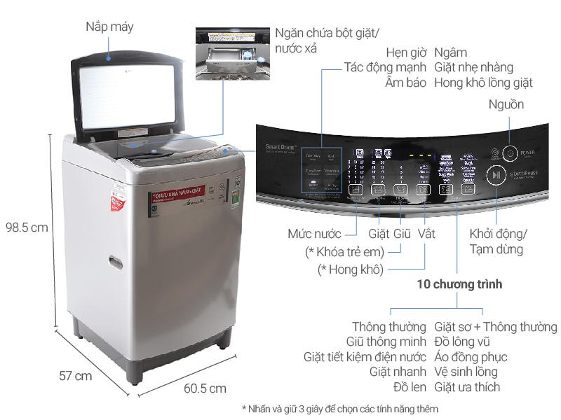 Thông số kỹ thuật Máy giặt LG Inverter 11 kg T2311DSAL