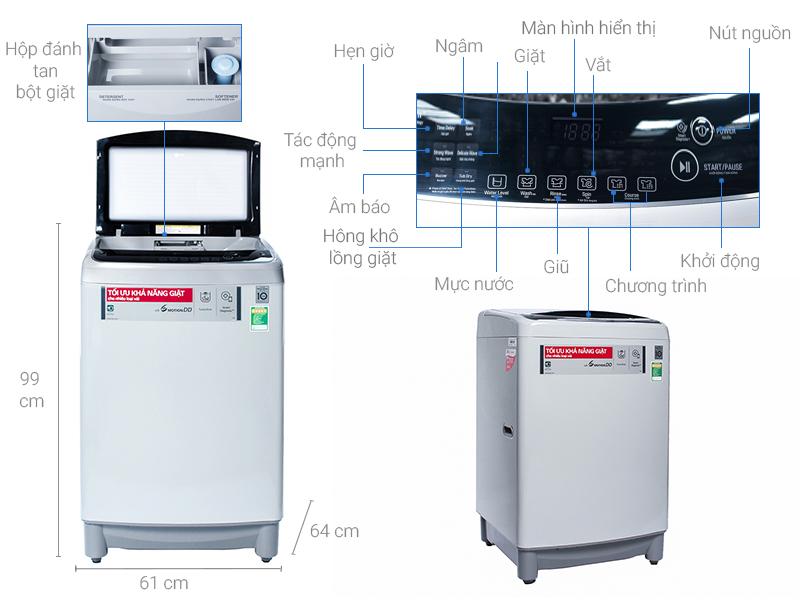 Thông số kỹ thuật Máy giặt LG Inverter 10 kg T2310DSAM