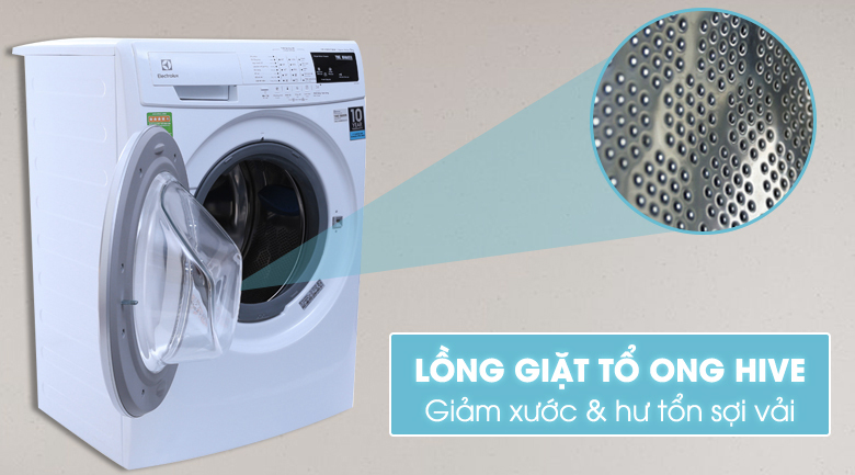 Lồng giặt Hive hình tổ ong - Máy giặt Electrolux Inverter 8 kg EWF10844