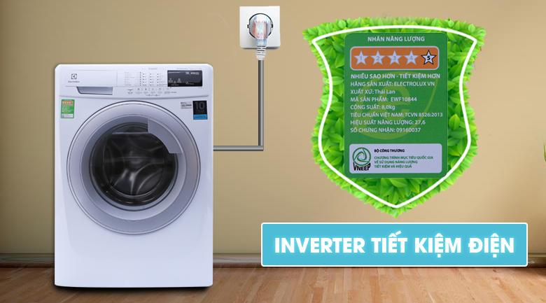 Máy giặt Electrolux Inverter 8 kg EWF10844 tiết kiệm điện năng