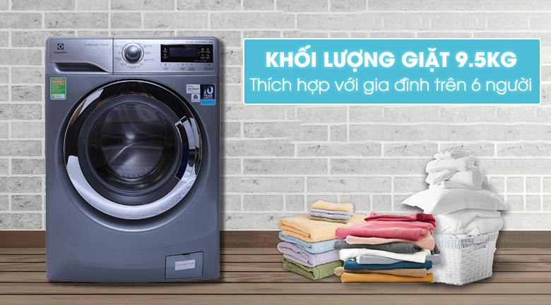 Khối lượng giặt 9.5 kg - Máy giặt Electrolux Inverter 9.5 kg EWF12935S