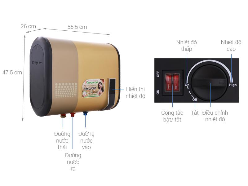 Thông số kỹ thuật Máy nước nóng Kangaroo 22 lít KG664Y