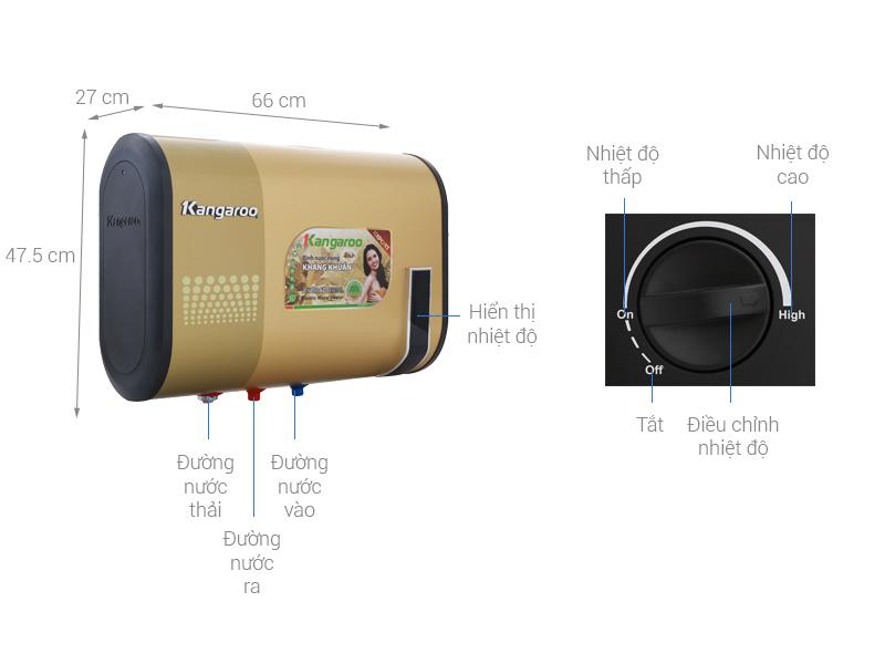 Thông số kỹ thuật Máy nước nóng Kangaroo 32 lít KG660Y