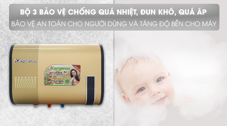 Bộ 3 bảo vệ - Bình tắm nóng lạnh Kangaroo 32 lít KG660Y