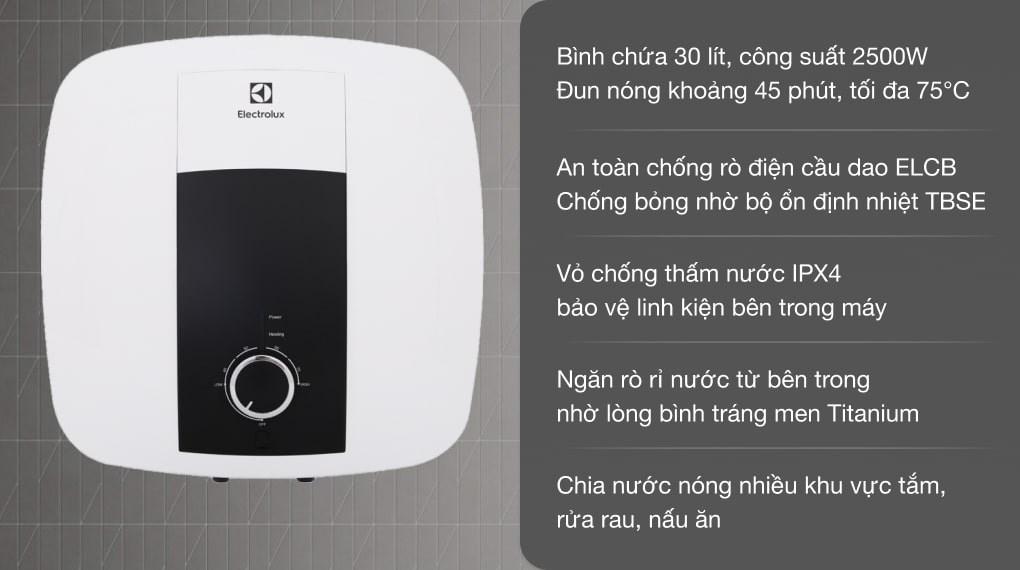 Máy nước nóng gián tiếp Electrolux 30 lít 2500W EWS302DX-DWM