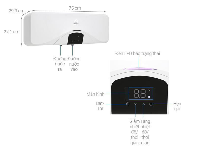 Thông số kỹ thuật Máy nước nóng Electrolux EWS202DX-DWE 20 lít