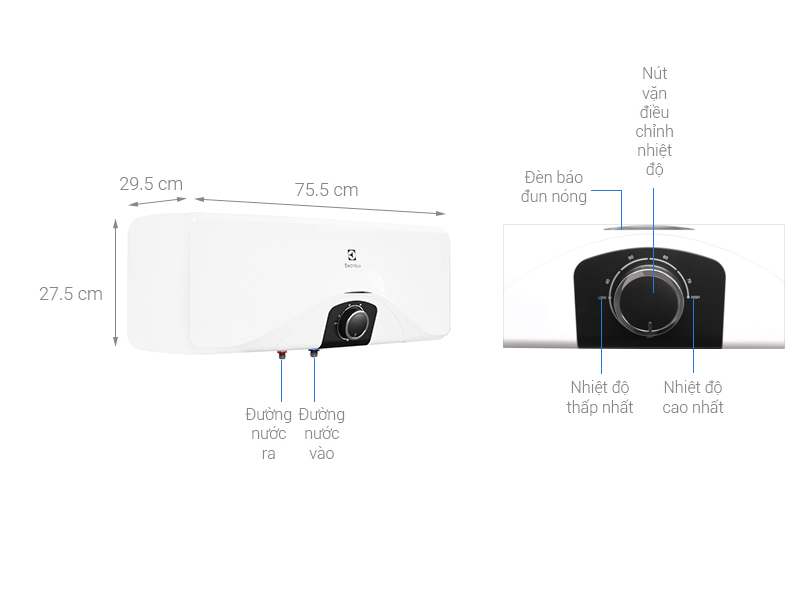 Thông số kỹ thuật Máy nước nóng Electrolux EWS202DX-DWM 20 lít