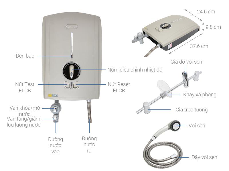 Thông số kỹ thuật Máy nước nóng Centon GD600E 4500W