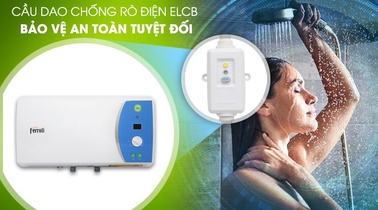 Cầu dao chống rò điện ELCB - Máy nước nóng Ferroli VERDI 15L AE 15 Lít