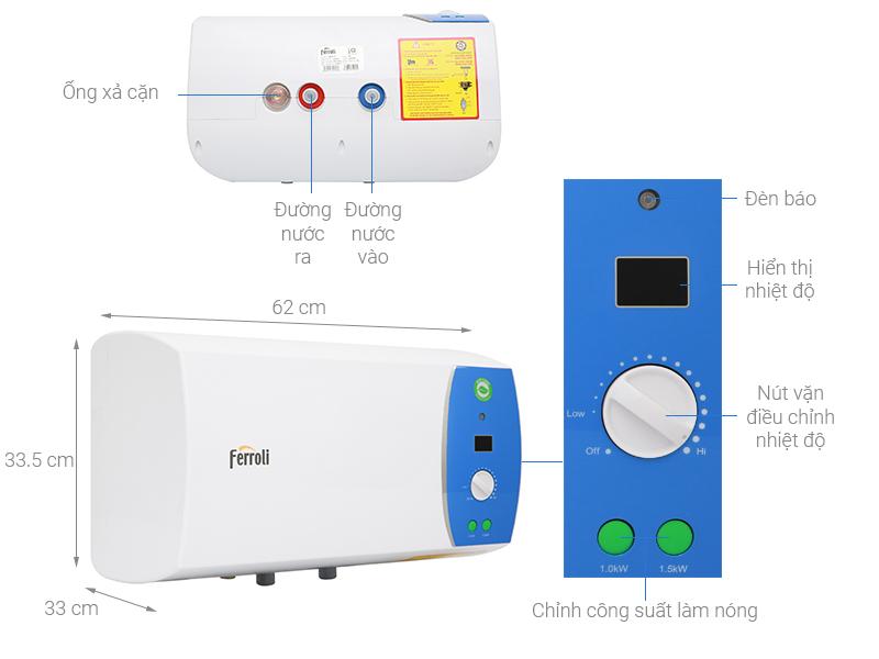 Thông số kỹ thuật Bình nước nóng Ferroli VERDI 30L AE 30 Lít