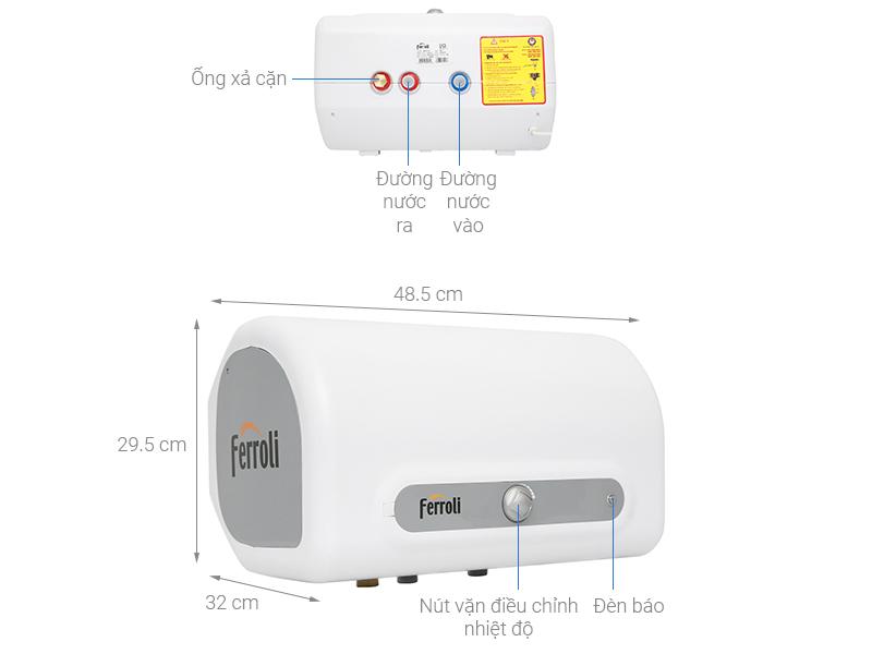 Thông số kỹ thuật Máy nước nóng Ferroli QQ Evo 15L ME 15 lít