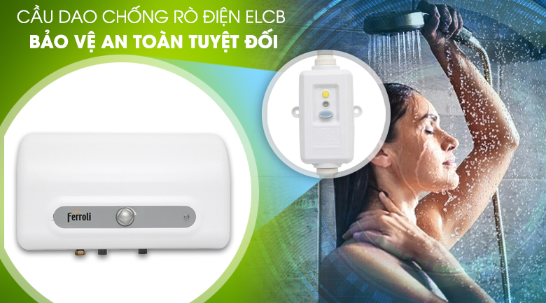 Cầu dao chống rò điện ELCB  - Máy nước nóng Ferroli QQ Evo 15L ME 15 lít