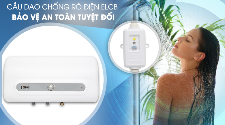 Cầu dao chống rò điện ELCB - Máy nước nóng Ferroli QQ Evo 30L ME 30 Lít