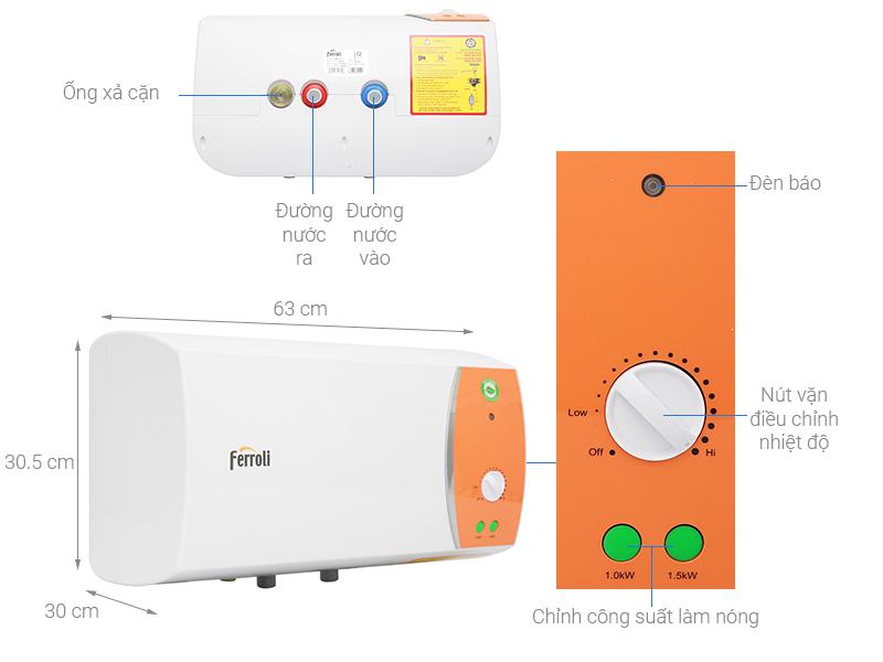 Thông số kỹ thuật Bình nước nóng Ferroli VERDI 20L TE 20 Lít