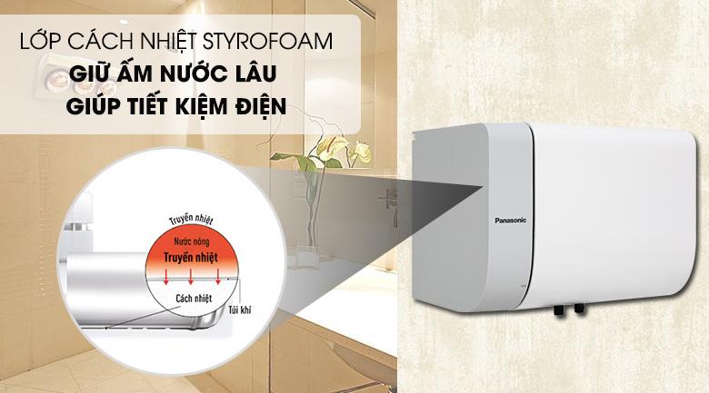 Lớp cách nhiệt Styrofoam giúp giữ ấm nước lâu hơn - Bình nước nóng Panasonic DH-15HAM 15 Lít