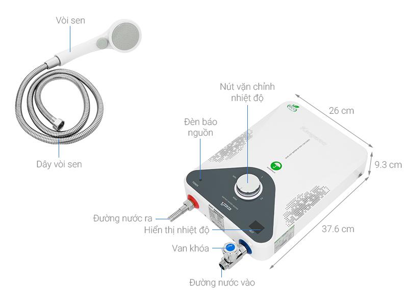 Thông số kỹ thuật Máy nước nóng hồng ngoại Kangaroo KG588W 4000W