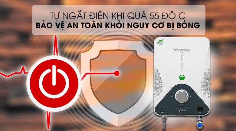 Máy nước nóng hồng ngoại Kangaroo KG588WP 4000W - An toàn, chống bỏng trên da với cơ chế tự ngắt điện khi vượt ngưỡng 55 độ C