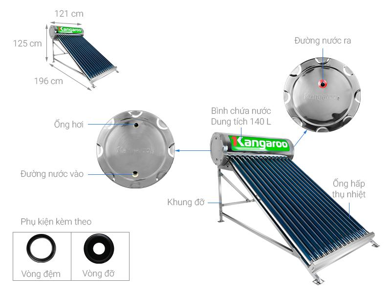 Thông số kỹ thuật Máy nước nóng năng lượng mặt trời Kangaroo GD1414 140 lít