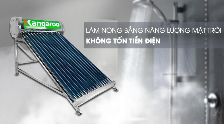 Tiết kiệm điện, sử dụng nguồn năng lượng mặt trời - Máy nước nóng Kangaroo GD1414 140 lít