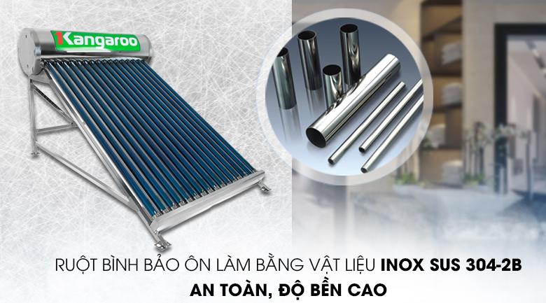 Vật liệu Inox SUS 304-2B - Máy nước nóng năng lượng mặt trời Kangaroo GD1616 160 lít