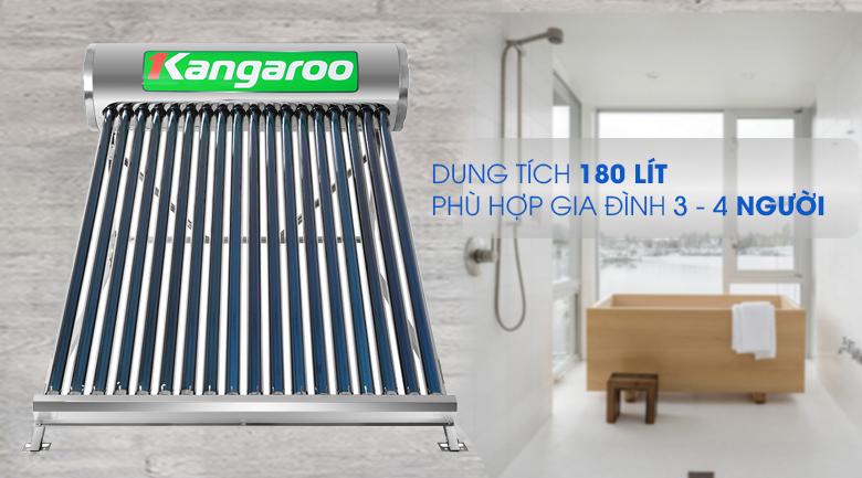 Dung tích bình chứa 180 lít - Máy nước nóng năng lượng mặt trời Kangaroo GD1818