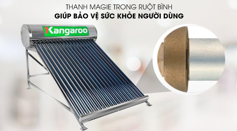 Chống bám cặn, ăn mòn điện hóa với thanh Magie - Máy nước nóng năng lượng mặt trời Kangaroo GD1818