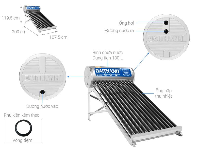 Thông số kỹ thuật Máy nước nóng năng lượng mặt trời Đại Thành 130 lít Classic 58-12