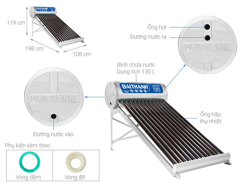 Thông số kỹ thuật Máy nước nóng năng lượng mặt trời Đại Thành 130 lít Vigo 58-12