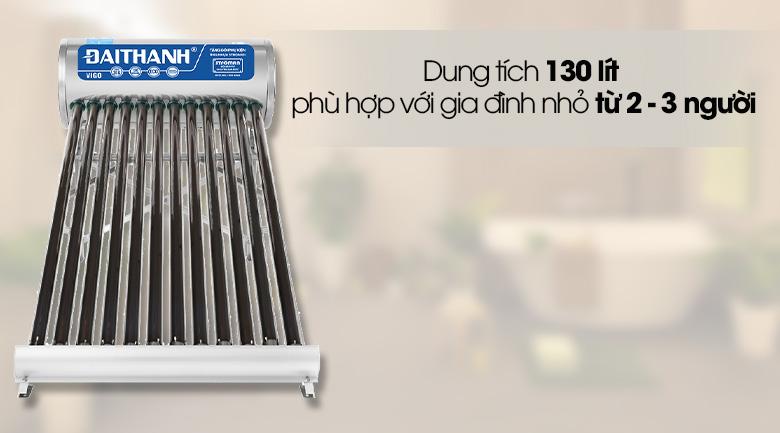 Dung tích 130 lít  - Máy nước nóng năng lượng mặt trời Đại Thành 130 lít Vigo 58-12