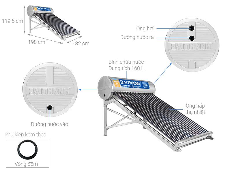 Thông số kỹ thuật Máy nước nóng năng lượng mặt trời Đại Thành 160 lít Classic 58-15