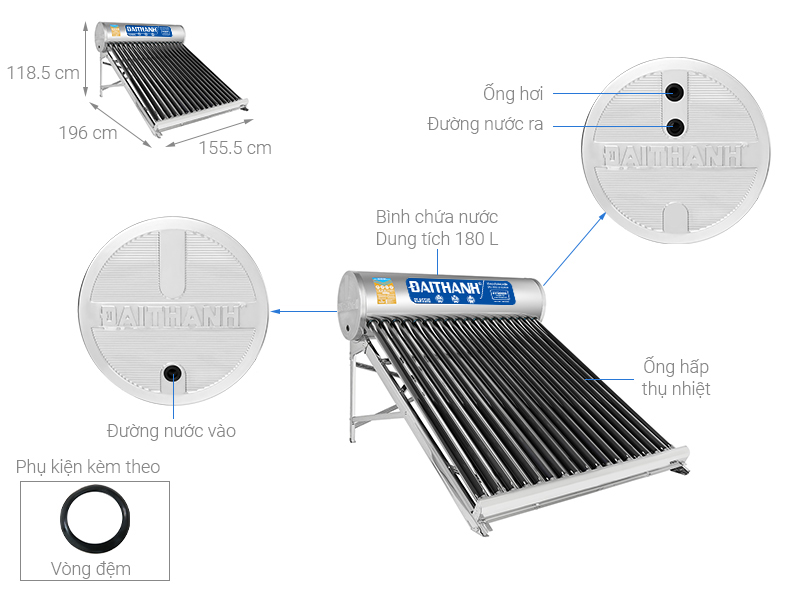 Thông số kỹ thuật Máy nước nóng năng lượng mặt trời Đại Thành 180 lít Classic 58-18