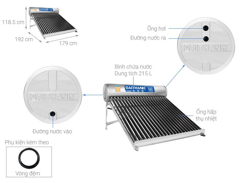 Thông số kỹ thuật Máy nước nóng năng lượng mặt trời Đại Thành 215 lít Classic 58-21
